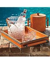 Global Views Double Handle Serving Tray, Orange/Bronze