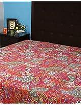 Ethnic Silver Floral Cotton Kantha Work Bedspread By Rajrang