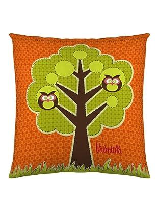 Valentina Funda de cojín Búhos (Naranja / Verde)