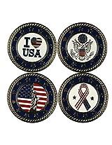 USA Flag Eagle Metal Poker Chip Ball Markers Set of 4 (Nickle Plating Poker Chips)