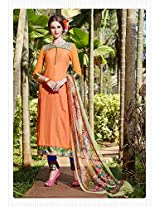 Rozdeal Women Cotton Embroderied Orange Long Salwar Kameez
