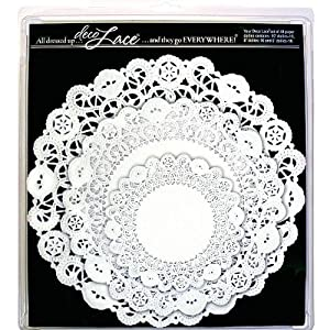 EuroQuest Imports Deco Lace Set of 45 Assorted Round Doilies, White