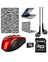 VangoddyTM Faux Leather Book Style Folio Protective Cover for Apple Macbook Pro 13.3-inch Laptops + Black VanGoddy Headphones + Red USB Wireless Mouse + 16GB Memory Card (Zebra)