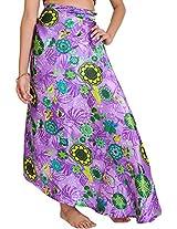 Exotic India Dahlia-Purple Wrap-Around Skirt with Printed Flowers - Purple