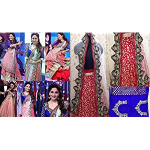 Madhuri Dixit Silk Red Embroidered Bollywood Style Lehenga