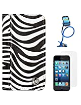 VanGoddy Zebra Print Mary Portfolio Self Stand Case Cover For Apple iPhone 5S / 5G (White) + Long Flexible Stand + Matte Screen