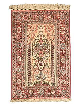 Hand-Knotted Kashmir Kerman Silk Rug, Pink, 2' 6