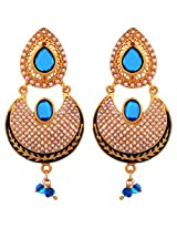 Lalso Designer Ethnic Bollywood Blue Danglers Bridal Wedding Jewellery Earrings-LFER006