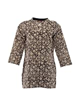 Amaya Women's Cotton Regular Fit kurti (Amaya036_M, Black , M)