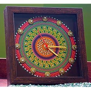 Footprints Forever Purple Mandala Clock