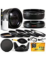 10 Piece Ultimate 58mm Lens Package For the Canon Vixia HF G10 HF G20 HF G30 HF S20 HF S21 HF S30 HF S200 XF100 XF105 Includes .43x High Definition II Wide Angle Panoramic Macro Fisheye Lens + 2.2x Extreme High Definition AF Telephoto Lens + Professional 5 Piece Filter Kit (UV CPL FL ND4 and 10x Macro Lens) + Flower Lens Hood + Deluxe Lens Cleaning Kit + LCD Screen Protectors + Mini Tri
