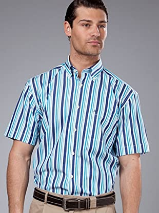PEDRO DEL HIERRO Camisa Rayas Bolsillo (Turquesa / marino)