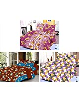 Nature Made Pack of 3 Yellow & Maroon & Red Printed Double Bed Sheets 250 TC