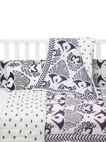 Kerry Cassill 4-Piece Crib Set (Navy Ikat/Navy Booti)