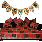Little India Jaipuri Print Dewan Bolsters Cushion Set And Get Door Hanging Free - DL3COMB149