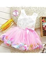 Orange and Orchid Summer Toddler Girls Clothing Dress Rose Flower Colorful petals Gauze Baby Tutu Dresses Sleeveless Kids Vest Princess Dress