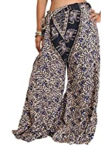 Exotic India Casual Palazzo Pants from Pilkhuwa with Printed Flowers and Elephan - Color Blue And BlackGarment Size Free Size