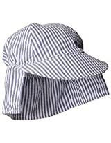 Flap Happy Baby Boys' Cotton Poplin Hat, Chambray Stripe Seersucker, X Small