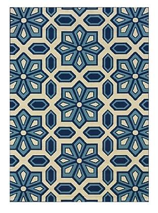 Granville Rugs Coastal Indoor/Outdoor Rug, Ivory/Blue, 2' 3