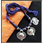 3 Pendant Thread Necklace - Blue
