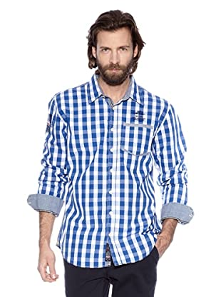 NZA New Zealand Auckland Camisa Manga Larga Dyme (Azul Eléctrico /  Blanco Roto)