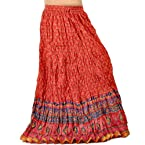 Ethnic Zari Border Red Blue Pure Cotton Skirt - 224