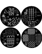 Nail Art Polish Stamp Stamping Manicure Image Plates Set Kit 4 pc QQG