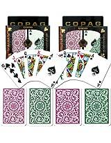 Copag Poker & Bridge Regular Index Green-Burgundy Set Of 2