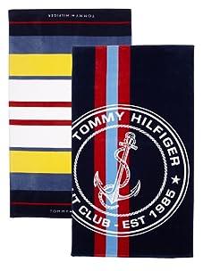 "Tommy Hilfiger Set of 2 Racing Stripe and Natutica Stripe Beach Towels, 40"" x 70"""