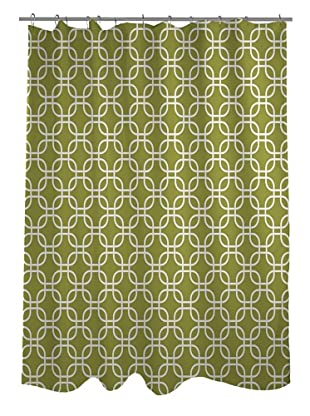 One Bella Casa Hisa Geometric Shower Curtain, Oasis Green/White