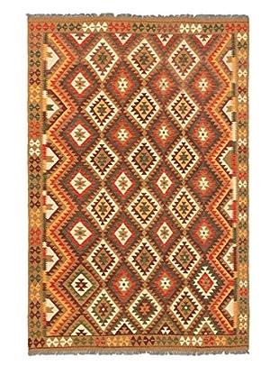 Hand Woven Kashkoli Wool Kilim, Camel/Dark Red, 6' 8