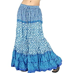 Ofo-Rajasthani Sea Blue Booti Cotton Long Skirt -137