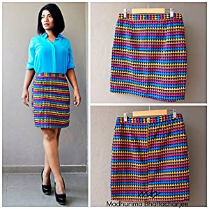 Madhurima Bhattacharjee Colorful Triangles Pencil Skirt-US size 8