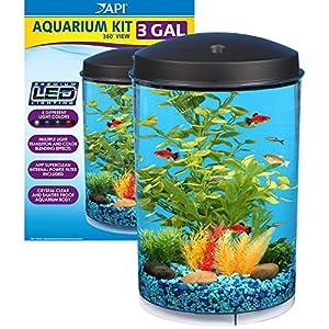 API Aquaview 360 Aquarium Kit with LED Lighting and Internal Power Filter, 3-Gallon