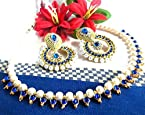 Dark Blue Pearl Polki Earring and Necklace set