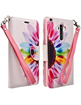 LG G Stylo Case, LG G Vista 2 Case- Magnetic Leather Folio Flip Book Wallet Pouch Case Cover With Fold Up Kickstand and Detachable Wrist Strap (Sun Flower Wallet)