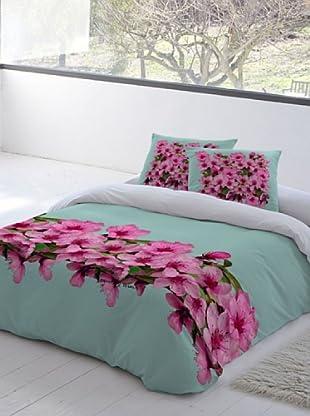 Devota & Lomba Juego de Funda Nórdica Flor Almendro Cenefa (Verde / Rosa)
