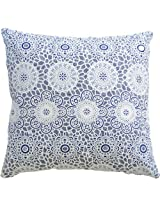 """Decorative Lace Front Throw Pillow 18"""" White / Navy"""