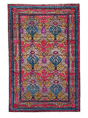 Solo Rugs Crafts Hand-Knotted Rug, Silver, 5' x 7' 10
