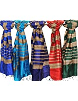 Exotic India Lot of Five Banarasi Dupattas with Jute Weave - Multi-Coloured