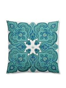 """Peking Handicraft Potala Embroidered Linen Pillow, Aqua, 20"""" x 20"""""""