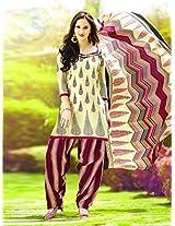 Cotton Printed Beige Unstitched Patiala Suit - NSTP2004