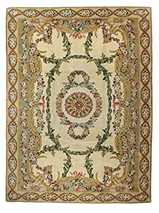 Bashian Rugs Hand Knotted One-of-a-Kind Savonerrie Rug, Ivory, 9' 9
