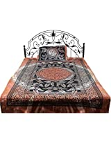 Exotic India Brown and Black Single-Bed Bedspread from Pilkhuwa with Large Printed Leaves - Pure Cot