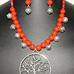 Kalakrita - Bright Red with Large pendant Necklace