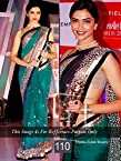 Celebrity Deepika Padukone Style Green Net Saree (110)