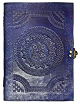 Handcrafted Blue Chapma Embossed Leather Big Journal/Notebook with C-Lock