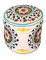 Designer Round White Indian Ottoman Cotton Floral Embroidered Pouf Cover By Rajrang