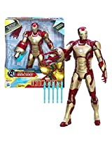 "Hasbro Year 2012 Marvel ""Iron Man 3"" Series 13 Inch Tall Electronic Action Figure Sonic Blasting Iron Man With Lights, Sounds And Phrases Plus Motorized Missile Launcher, 5 Red Missiles And 5 Blue Missiles"