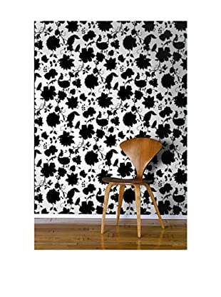 Astek Wall Coverings Set of 2 Floral Toile Wall Tiles, White